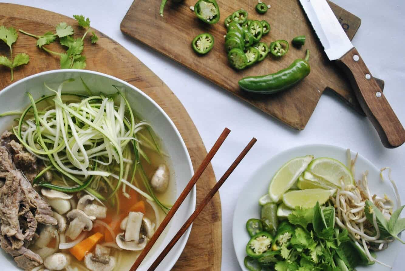 Pho with zucchini noodles