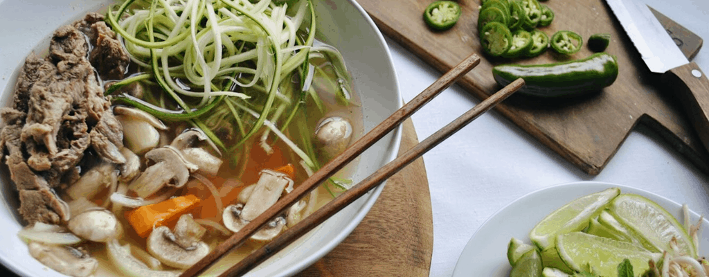 Easy Pho with zucchini noodles