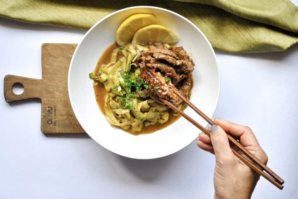 Asian Marinated Steak and Zucchini Noodles