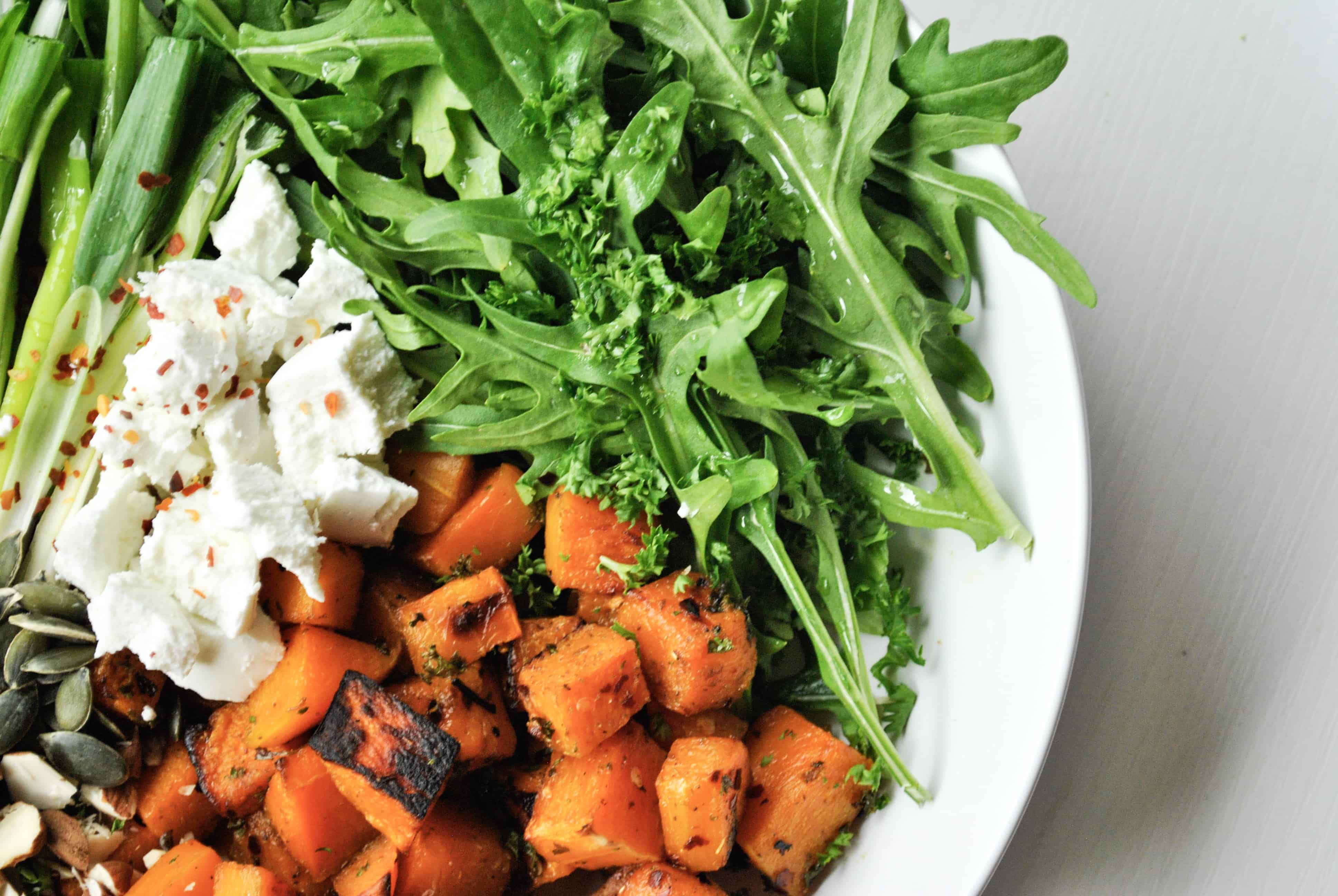 Butternut and Goats Cheese Salad with Almonds