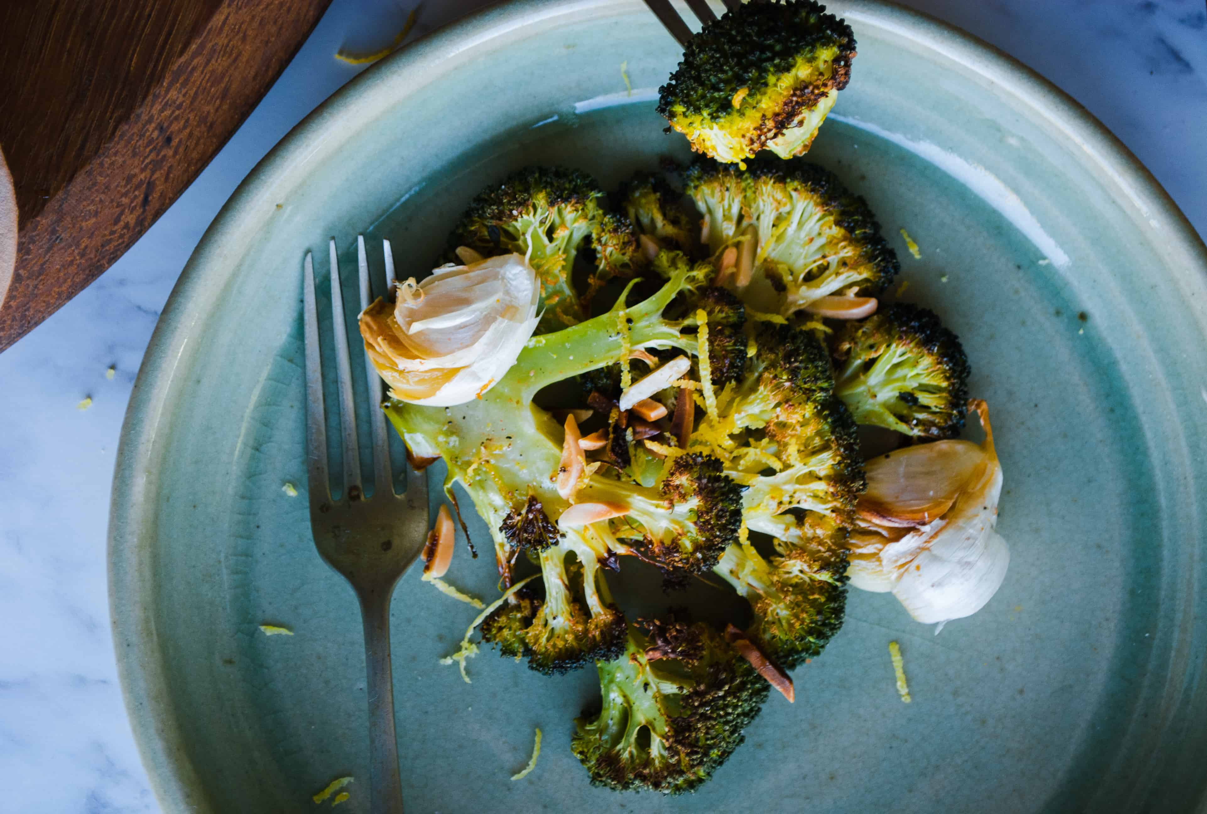 Easy Roasted Broccoli with Garlic & Almonds