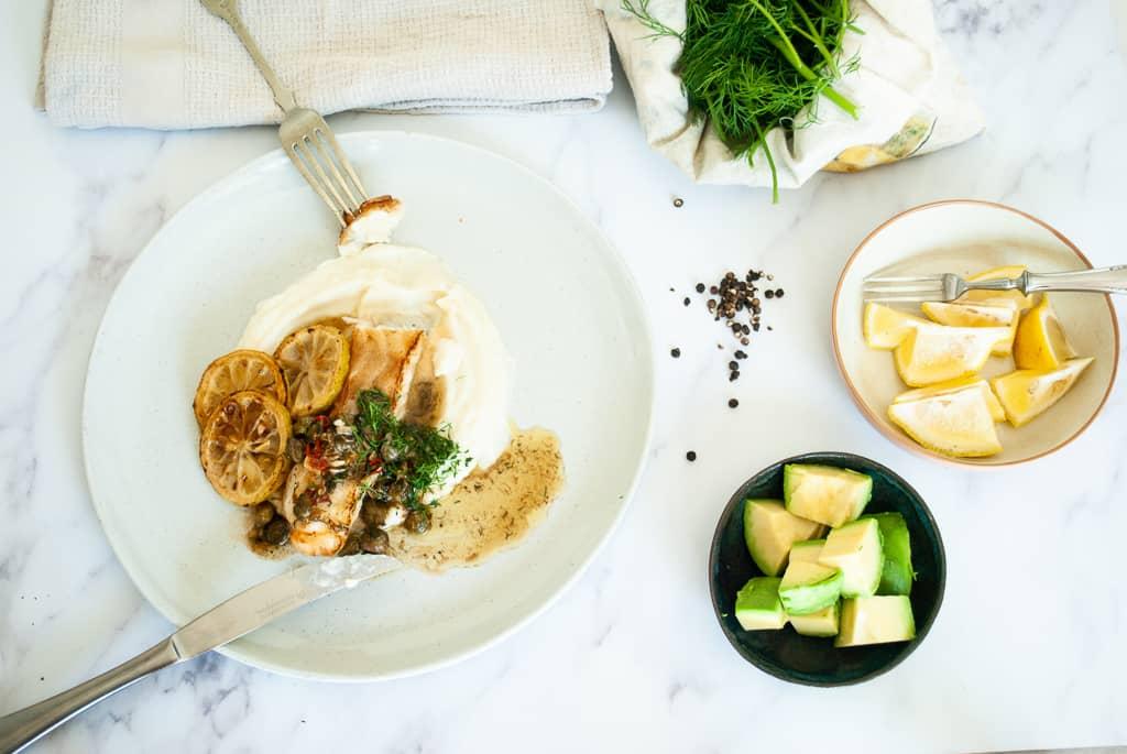 Lemon & caper whitefish with cauliflower mash