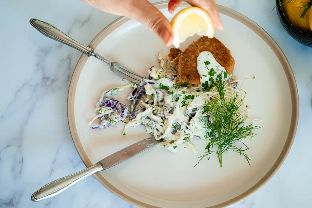 Salmon Fishcakes with Kefir & Dill Slaw